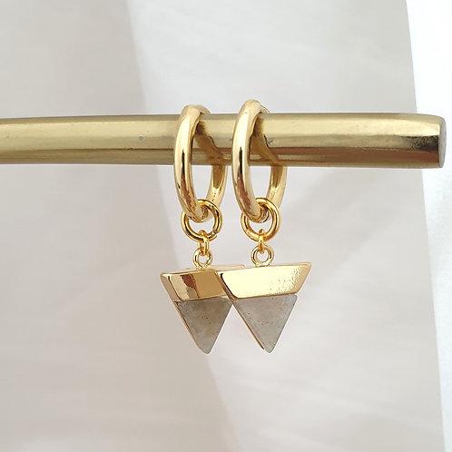 Labradorite Gemstone Hoop Earrings