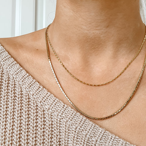 Simple Gold Chain Necklace Set