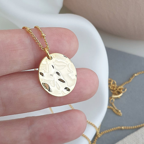 Flat Hammered Disc Necklace