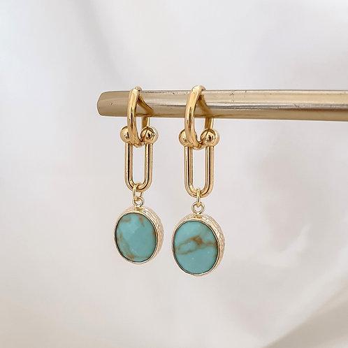 Turquoise Drop Hoops