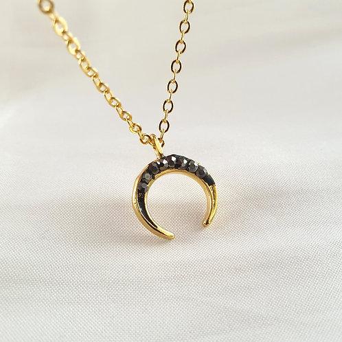 Black Crescent Charm Necklace
