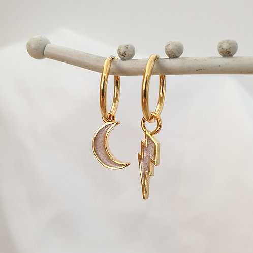 Moon and Lightning Hoop Earrings Set