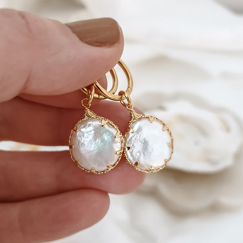 Coin Pearl Hoop Earrings