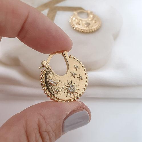 Celestial Disc Hoop Earrings