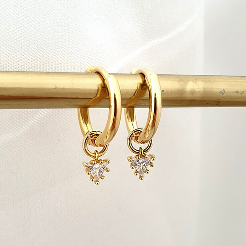 Triangle Charm Hoop Earrings