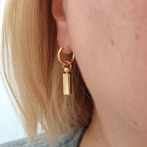 Minimal Gold Bar Hoop Earrings