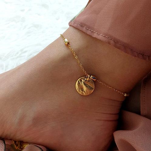 Gold Disc Charm Anklet