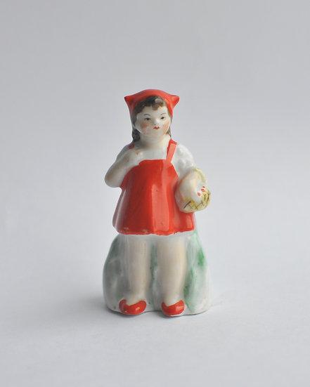 Редкая фарфоровая статуэтка Красная шапочка. 1946-50 годы СССР