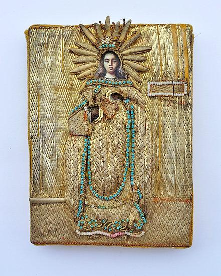 Старинная икона Святая Варвара. Золотое шитьё