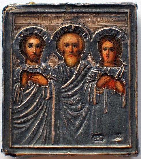 Старинная икона Гурий, Самон и Авив