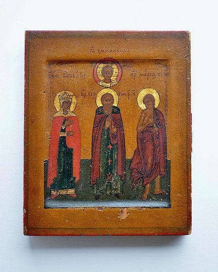 Икона Спас Эммануил, Св. Сергий Радонежский,Св. Варвара, Св. Мария Египетская