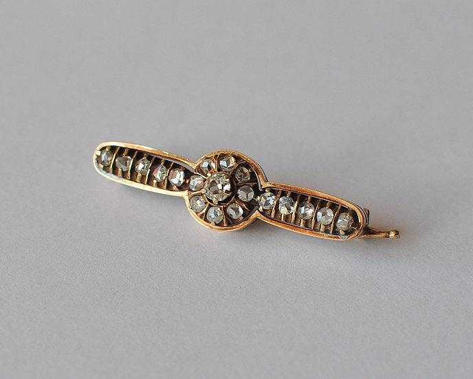 Старинная золотая брошь-заколка с бриллиантами. 56 проба. Винт. Авиация. 19 век