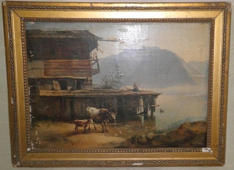 Старинная картина.Фридрих Гауэрман. Австрия,19 век