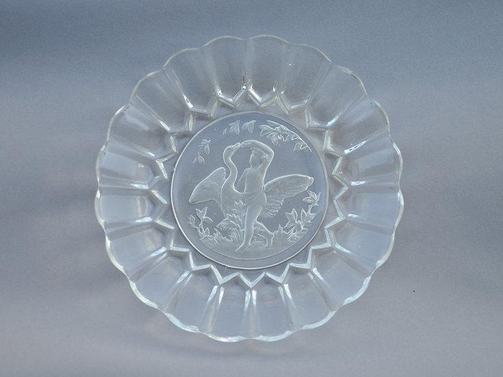 Старинная дореволюционная стеклянная тарелка. Блюдо. Мальцов. 1912 год