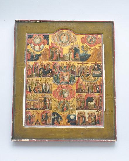 Старинная икона Символ Веры. Палех.