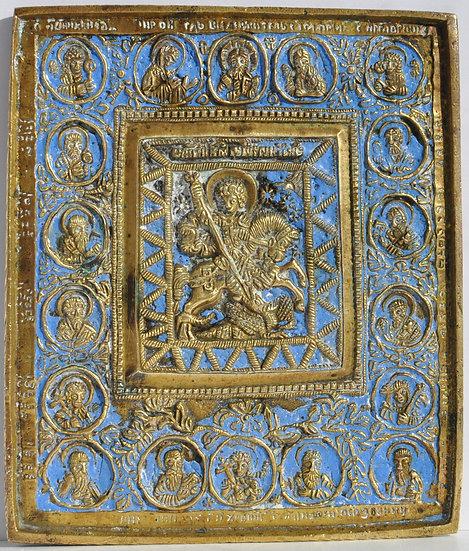 Старинная икона Георгий Победоносец