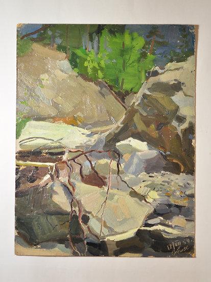 """Старинная картина """"Горная Река"""" (Терек) Худ. Отиев В.А. 1954 год"""