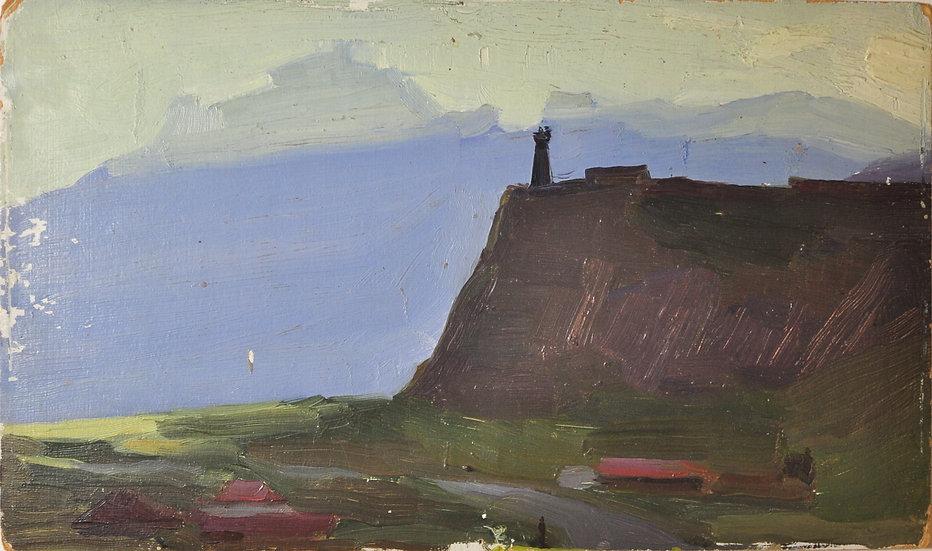 """Старинная картина """"Башня в селении Сиони близ Казбека"""" Грузия. Худ. Отиев В.А."""