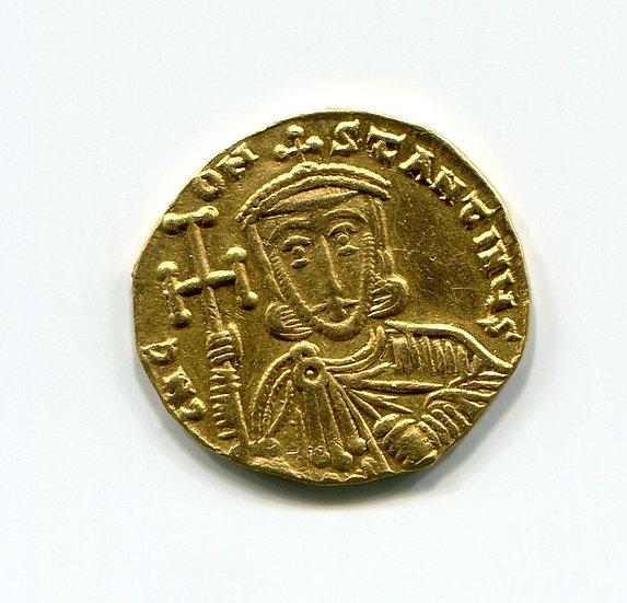 Старинная золотая монета. Византия. 741-755 годы нашей эры. Оригинал