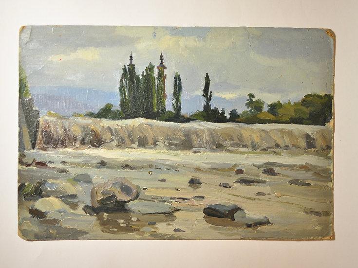 """Старинная картина """"Владикавказ (Орджоникидзе). Казбек. Река Терек. Мечеть."""""""