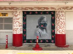 I Am Here_ Vaccinate_ Vacunate, 9'x9' mural, Jefferson Bodega, San Antonio Texas