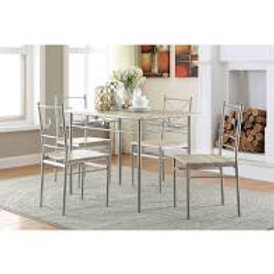 5 Piece Dining Set in Metal and Taupe Finish