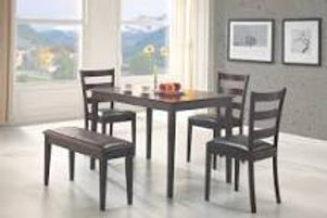 5 Piece Dining Set With Bench Cappuccino And Dark Brown Finish