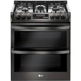 LG 6.9CF Smart Gas Double Oven with Convection in Black Stainless