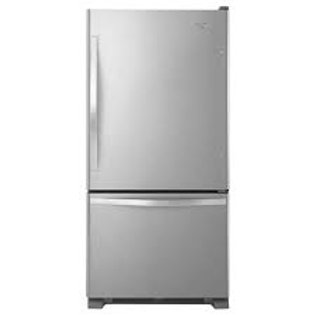 "Whirlpool 22CF 33"" Width Freezer on Bottom Stainless Refrigerator with I"