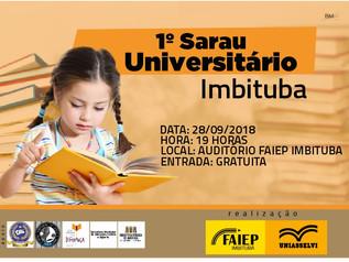 1º Sarau Universitário - Imbituba sediará o evento na próxima sexta-feira (28)