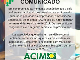 ACIM não reajustará mensalidades em 2017