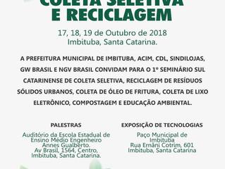 1º Seminário Sul Catarinense de Coleta Seletivae Reciclagem começa nesta quarta-feira (17)