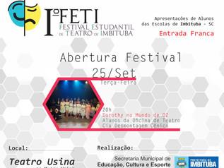 Festival Estudantil de Teatro deImbitubacomeça nesta terça-feira (25)