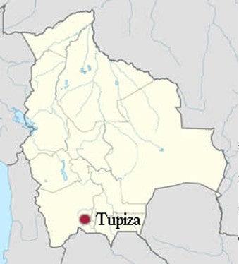 Carte de Tupiza en Bolivie
