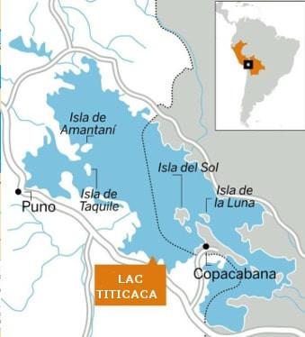 Carte lac titicaca en Bolivie