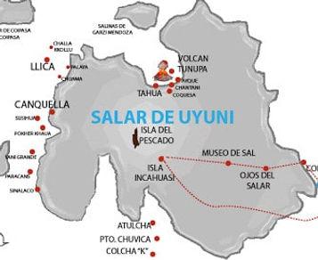 carte du salar d'Uyuni en Bolivie