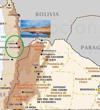carte désert d'Atacama au Chili