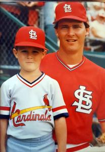 Aaron Herr (batboy) with his dad Tom Herr