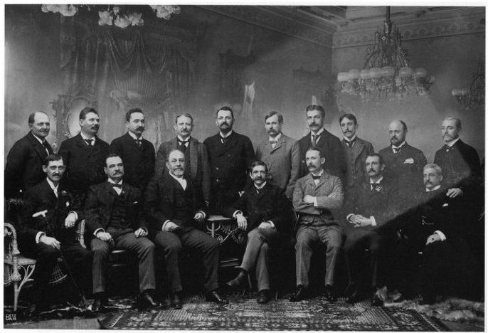 1897 National League Owners Meeting. Back row, left-to-right, Edward Becker, Chris Von der Ahe, and fourth from the left is Frank De Hass Robison.