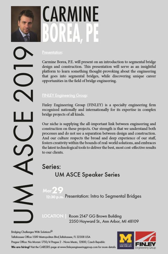 Finley Engineering in ASCE Speaker Series @ 03/29