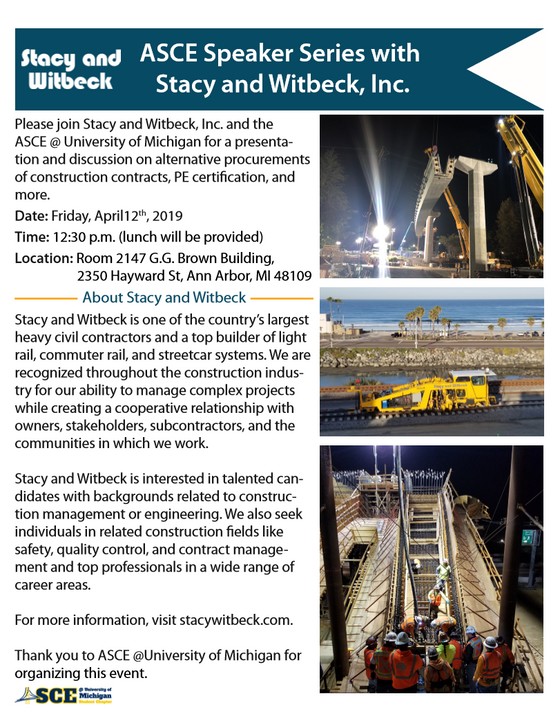 Stacy & Witbeck in ASCE Speaker Series@ 04/12