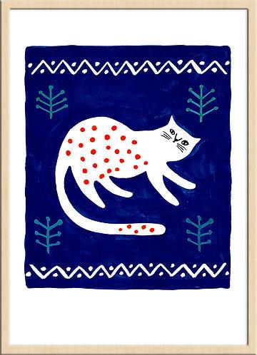 「青の中の赤水玉ネコ」(限定版ジークレー版画)