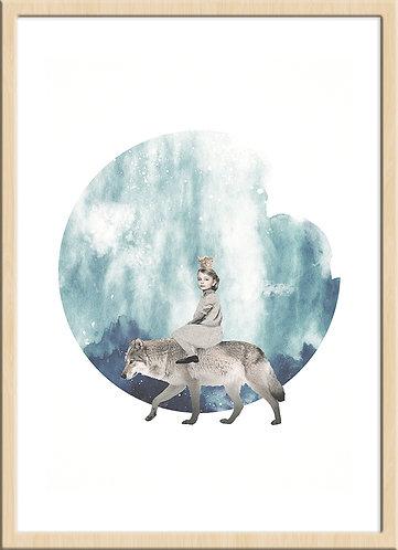 インテリア|ポスター|おしゃれ|モダン|アート|デザイン|北欧 |レトロ |人気|オランダ|海外インテリア|ヴィンテージ|ビンテージ|内装|家具|かわいい|コラージュ|部屋|papertrumpets|狼|子供|月