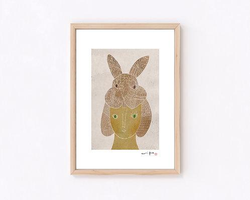 髪『ウサギ』ジークレー版画
