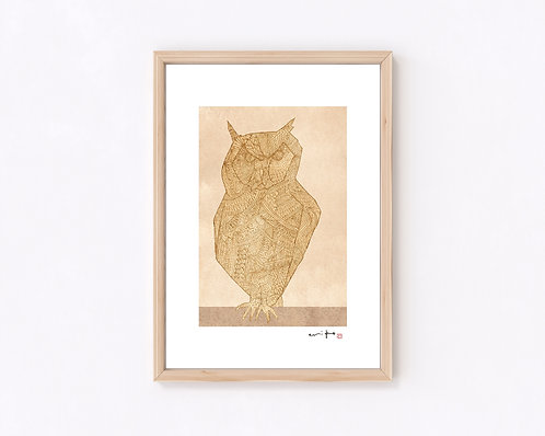 いきもの『フクロウ』ジークレー版画