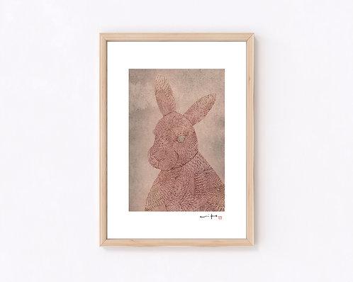 いきもの『ウサギ』ジークレー版画