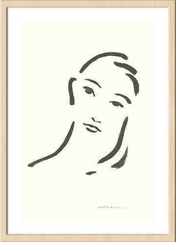 インテリア 海外 北欧 ラインアート ナチュラル ミニマル シンプル ミニマリスト アート 芸術 イラスト ライン 線画 女性 ポートレート ハーネミューレ 版画 印刷 高品質 おしゃれ 通販 オンライン