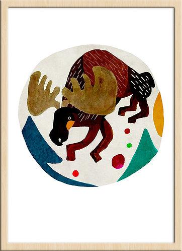 津島タカシ|Takashi Tsushima|イラスト|ポスター|ジークレー|北欧|動物|鹿|シカ