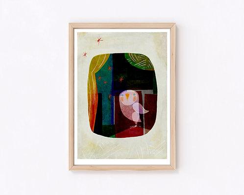 津島タカシ Takashi Tsushima イラスト ポスター ジークレー 北欧 動物 フクロウ 鳥