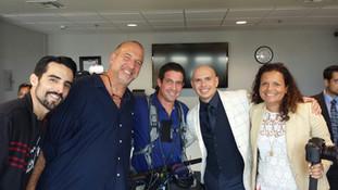 Mr. 305, Pitbull, with the NBC crew